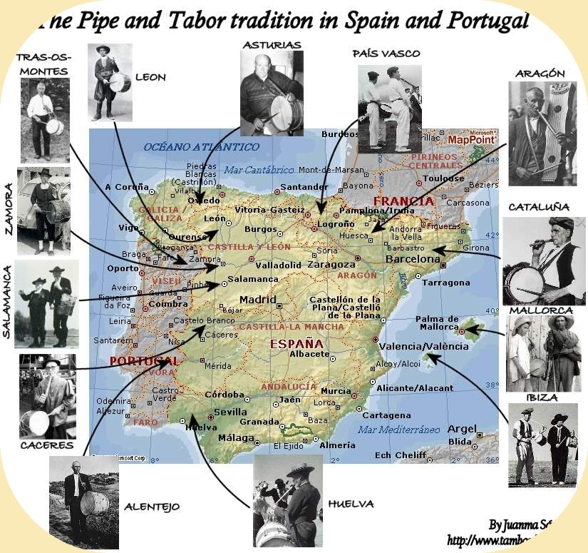 Map Of South West Spain.Pipe And Tabor West Spain